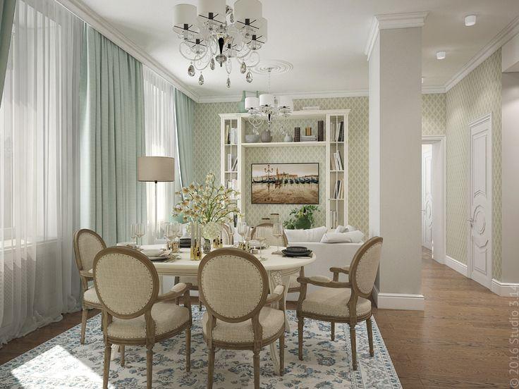 Гостиная, совмещенная со столовой и кухней. Зонирование с помощью колоны.