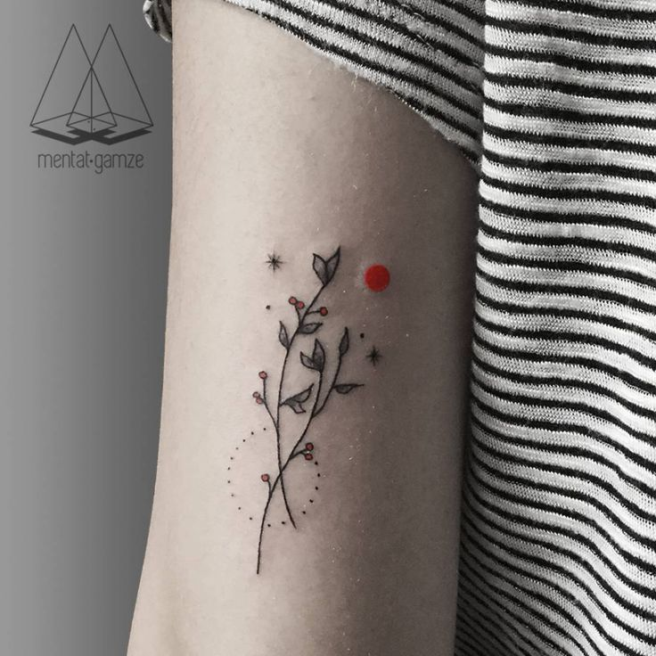 "cutelittletattoos: ""Minimalist branch couple on the back of the left arm. Tattoo artist: Mentat Gamze """