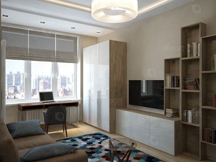 Гостевая комната, современный стиль, стол у окна