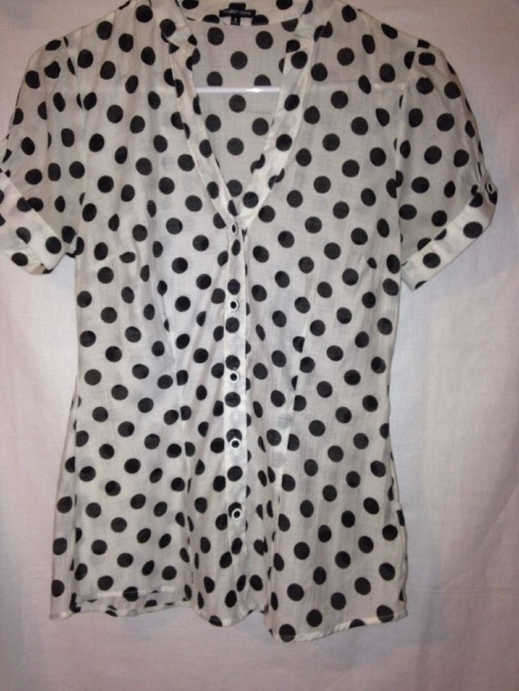 Maurice's white blouse with big black polka dots S | Clothing, Shoes & Accessories, Women's Clothing, Tops & Blouses | eBay!