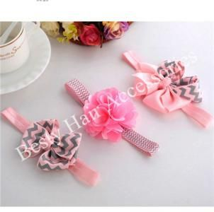 Newborns Pink Flower Elastic Headbands