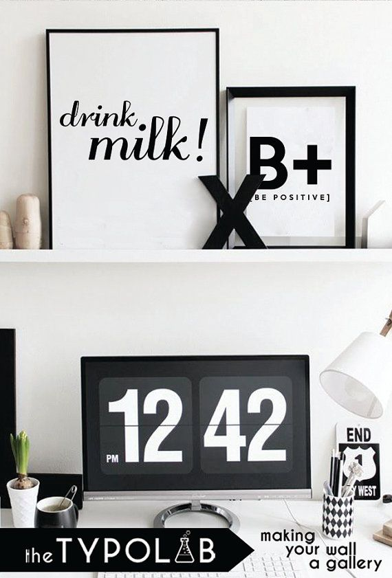 Drink Milk /Inspirational Print/ Typography Poster/ by theTypolab