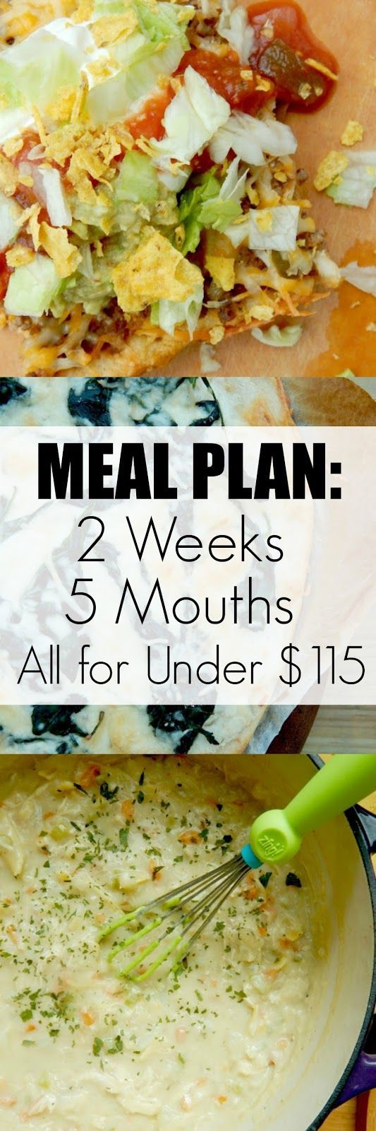 Meal Plan: 2 Weeks, 5 Mouths, All for Under $115...a superb plan for a hungry family! Plenty of leftovers for lunches and extras that will stock your fridge and pantry.