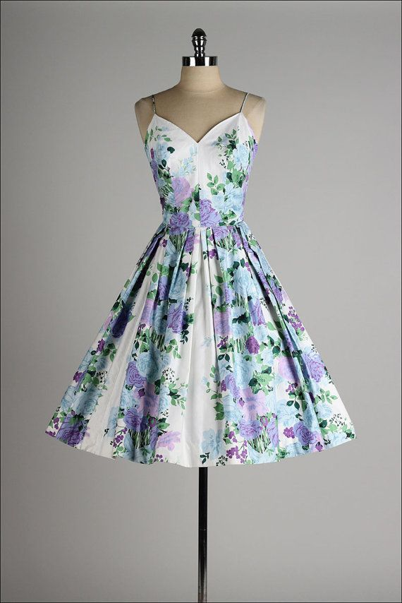 vintage 1950s dress . floral polished cotton by millstreetvintage