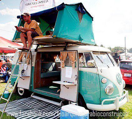 VW Bus camper + roof tent platform