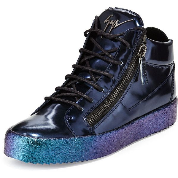 Giuseppe Zanotti Mid-Top Leather Sneaker with Ombre Sole ($825) ❤ liked on Polyvore featuring shoes, sneakers, blue, print sneakers, zipper sneakers, metallic shoes, giuseppe zanotti shoes and giuseppe zanotti sneakers