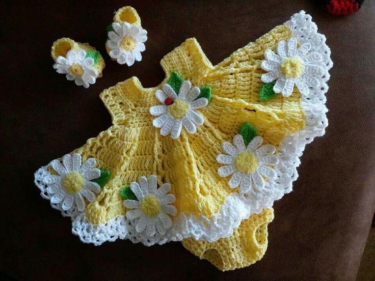 Baby dress using triple crochets  no pattern hut use idea