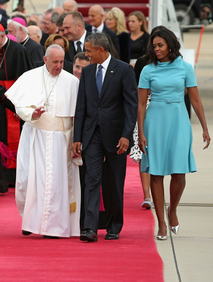 President Barack Obama and first lady Michelle Obama .Greeting the Pope in Washington, D.C. - ELLE.com