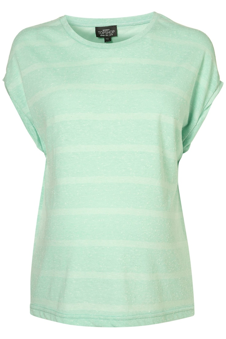Mint and cream stripe top