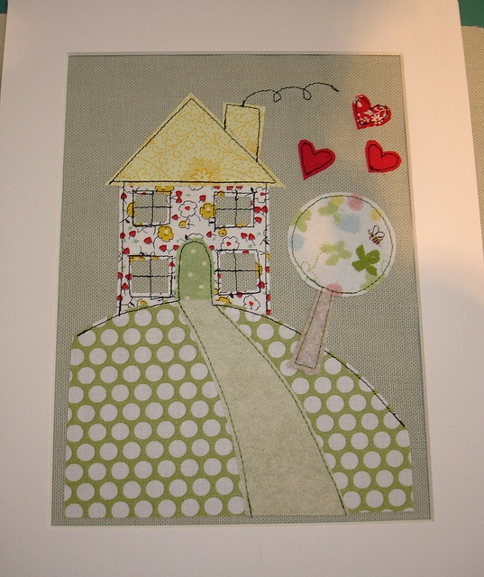 cute house quilt - can be made into a greeting card too