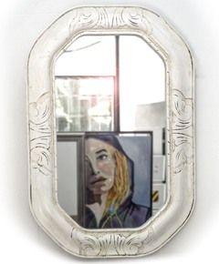 espejo con marco ovalado blanco labrado medidas interior xx cm varilla marco antiguo