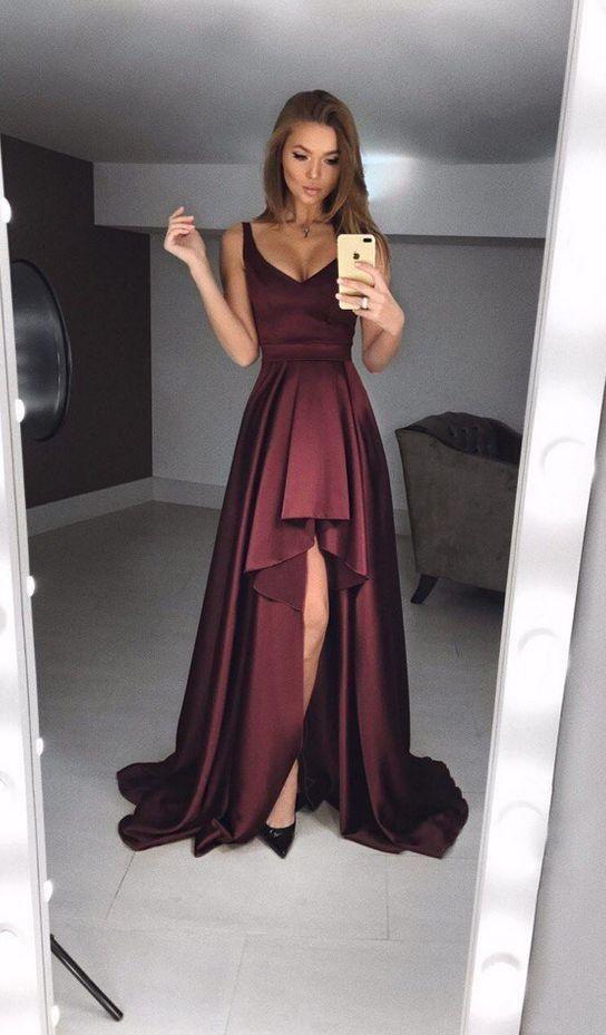 Sexy A-Line Deep V Neck Burgundy Satin High-Low Prom Dresses,Charming Formal Evening Dresses DG0918004 2