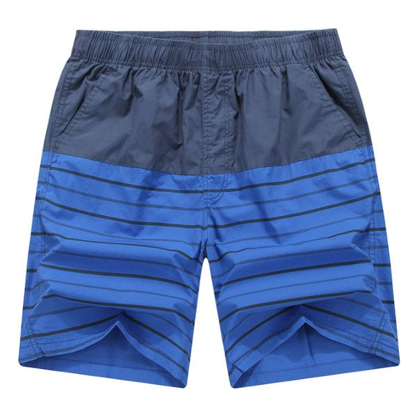 Summer Mens Beach Knee-Length Pants Casual Cotton Colorful Stripes Quick-drying Shorts