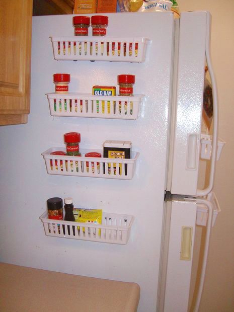 Attach magnets to small plastic baskets to make a nifty spice rack that fits on the side of your fridge.