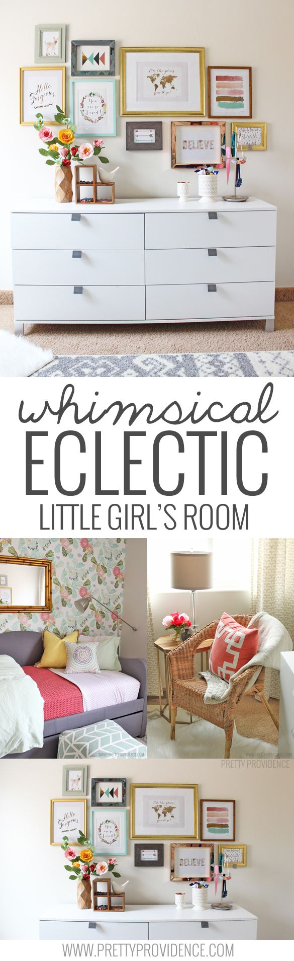 I am obsessed with this whimsical eclectic little girls room! Sweet, bright, and not at all predictable! Plus... I can't believe the deals she found on things!!