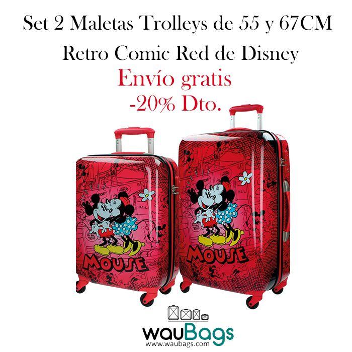 """Set de viaje compuesto por 2 originales y prácticas Maletas Trolley (una de ellas apta para cabina) de la colección """"Retro Comic Red"""" de Disney.Con 4 ruedas que giran en 360º y un candado de cierre con combinación modelo TSA en el lateral. Están totalmente forradas en su interior y disponen de varios bolsillos y goma elástica para la ropa. @waubags #disney #mickey #minnie #setdeviaje #maletas #trolleys #oferta #descuento #viaje #waubags"""