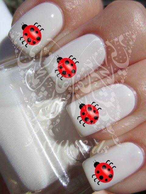 Nail Art Ladybug Ladybird Nail Water Decals Transfers Wraps