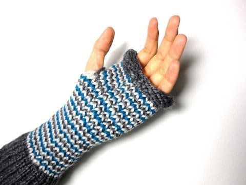 Loom Knit -  Fingerless Mittens Tutorial - Closed Captioned showing how to incorporate color changes.  ▶ YouTube Video by Tuteate.