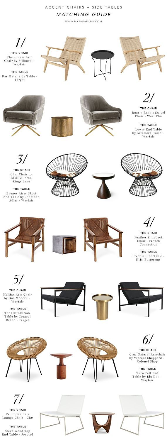 Accent chairs and side tables matching guide