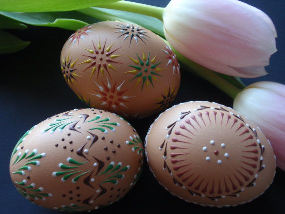 Easter Eggs Pysanky Set of 3 Decorated Brown Chicken by EggstrArt, $39.95