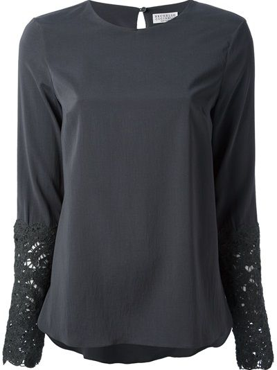 BRUNELLO CUCINELLI - lace cuff blouse 6 . crochet lace detailing on sleeve keyhole-button back closure stretch silk grey . http://www.farfetch.com/shopping/women/brunello-cucinelli-lace-cuff-blouse-item-10524206.aspx