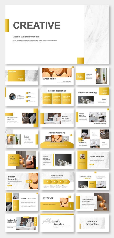 Gold Creative Interior Design Powerpoint Template Powerpoint