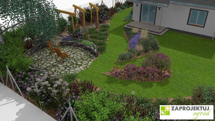 W ogrodzie zaprojektowano placyk – idealne miejsce spotkań, wspólnych posiłków czy popołudniowego wypoczynku, gdzie aromatyczne zioła rosną na wyciągniecie ręki. Przestrzeń na planie koła otaczają wzniesione rabaty, obramowane kamiennym murkiem, z szałwią, miętą czy bazylią. Z tarasu domu na placyk prowadzi ścieżka  z porozsuwanych płyt. Ścieżkę podkreśla pergola, którą od lipca do października zdobią kwiaty powojnika. http://www.zaprojektuj-ogrod.pl/pl/OrderGardenProject/Index
