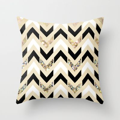 Black, White & Gold Glitter Herringbone Chevron on Nude Cream Throw Pillow by Tangerine-Tane | Society6