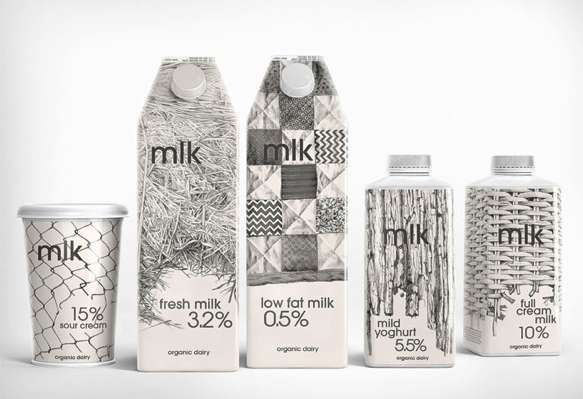 Fantastic packaging - makes me want a glass of milk: MLK Dairy Products' Branding has a Personal Touch: Pencil-Drawn Packaging