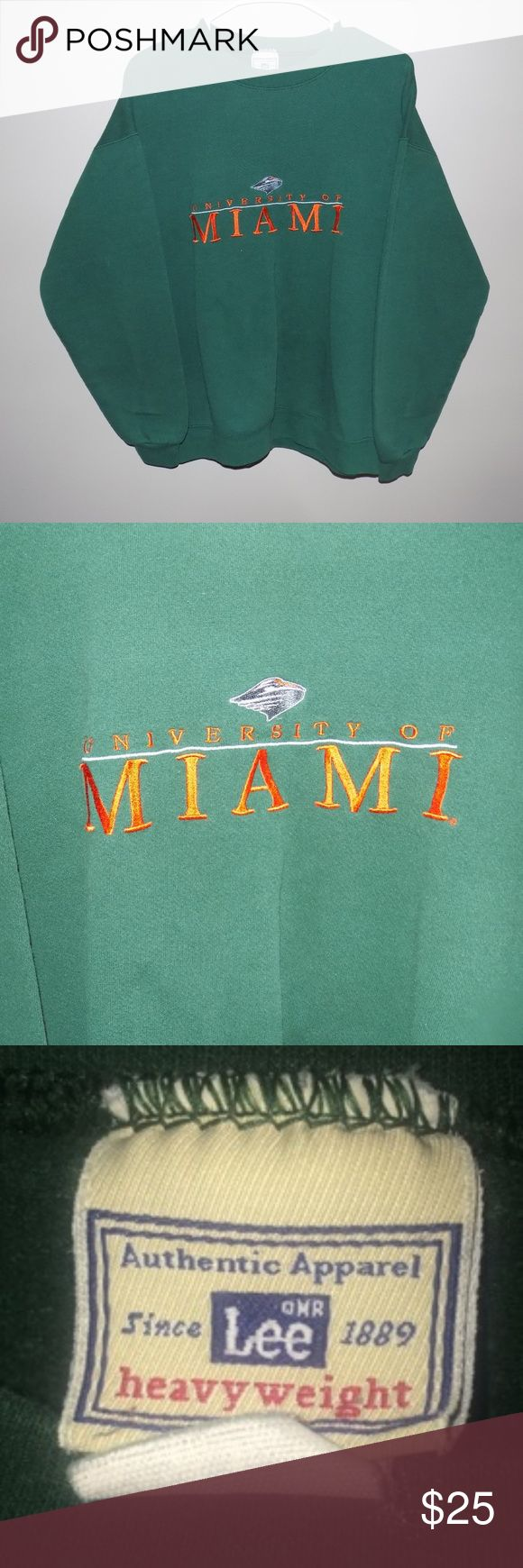 Vintage Lee Sport University of Miami Crewneck Vintage Lee Sport University of Miami Crewneck. Sweatshirt is still in excellent (9/10) condition simply due to the fact that it is older and has been worn a little bit. Sweatshirt has a very simple, clean look to it and Miami has one of the best color schemes in all of college sports! Vintage Sweaters Crewneck