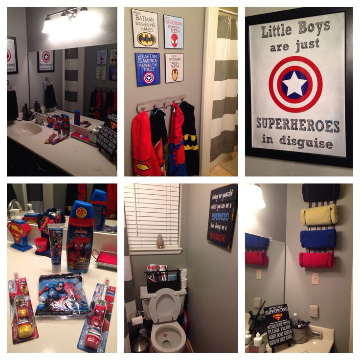 Superhero Bathroom.  Consists of items from Etsy, West Elm, Hobby Lobby, Walmart, and Target.