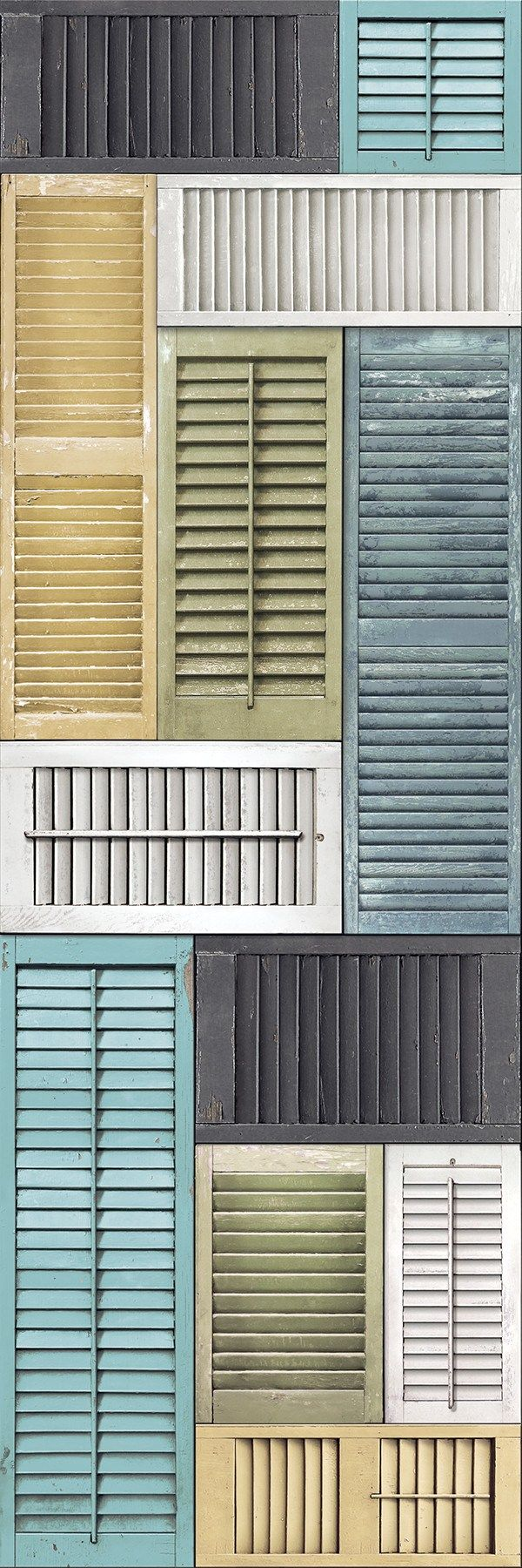 This stunning wall mural gives the look of a wall full of vintage shutters. Blues, greens, yellows, and whites make for a modern color palette that nods to the past. Peeling paint and worn edges add c