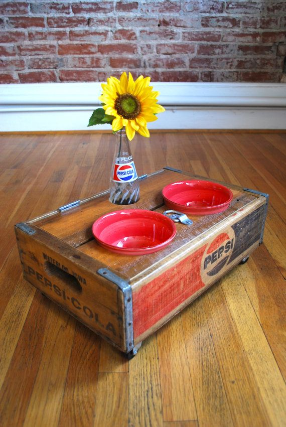 UPCYCLED Vintage Pepsi Crate Pet Feeder by summerofseventyUpcycling Vintage, Girls Pets, Vintage Pepsi, Pepsi Crates, Crates Pets, Upcycled Vintage, Pets Feeders, Pets Girls, Pets Boys