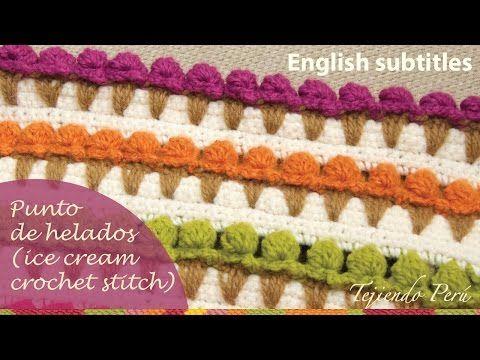 Puntada conos de helado tejida a crochet (ENGLISH SUBTITLES: crochet ice cream stitch) - YouTube