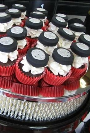 Tire-topped cupcakes will keep your birthday child's engines going all afternoon!