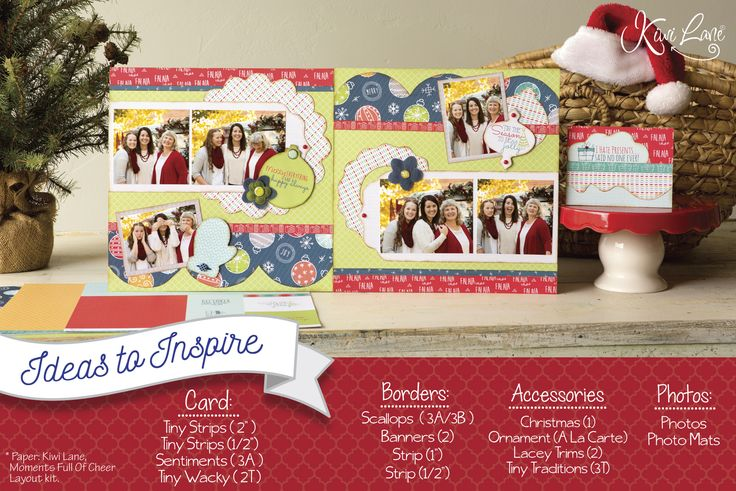 Christmas Scrapbooking Layout by Kiwi Lane Designs using Moments Full Of Cheer Layout Kit. www.kiwilane.com - Ideas To Inspire #ChristmasScrapbooking #ChristmasScrapbookingLayouts #MerryChristmas