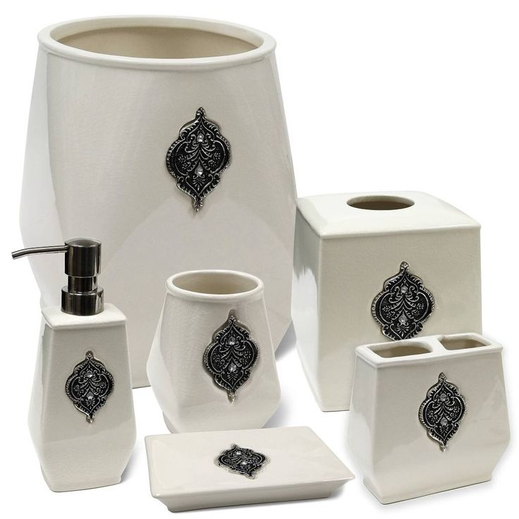 crystal bathroom accessories sets%0A product image for Veratex Restretta Bath Ensemble in White