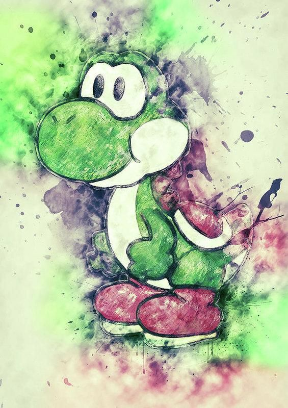 Yoshi Art Print Yoshi Watercolor Digital Painting Drawing
