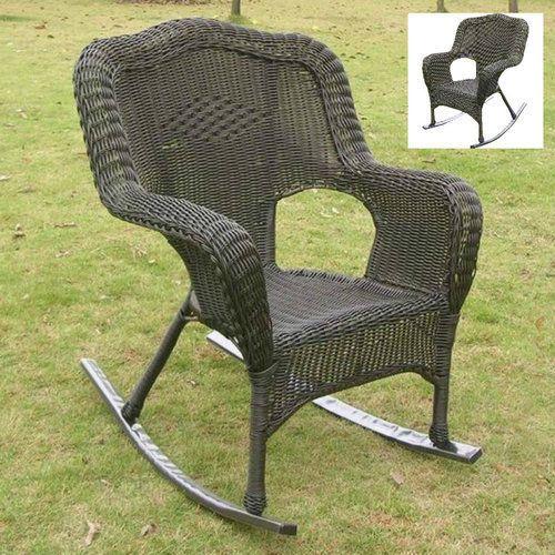 Porch-Rocking-Chair-Set-Outdoor-Black-Front-Deck-Wicker-Patio-Furniture-Deck-New