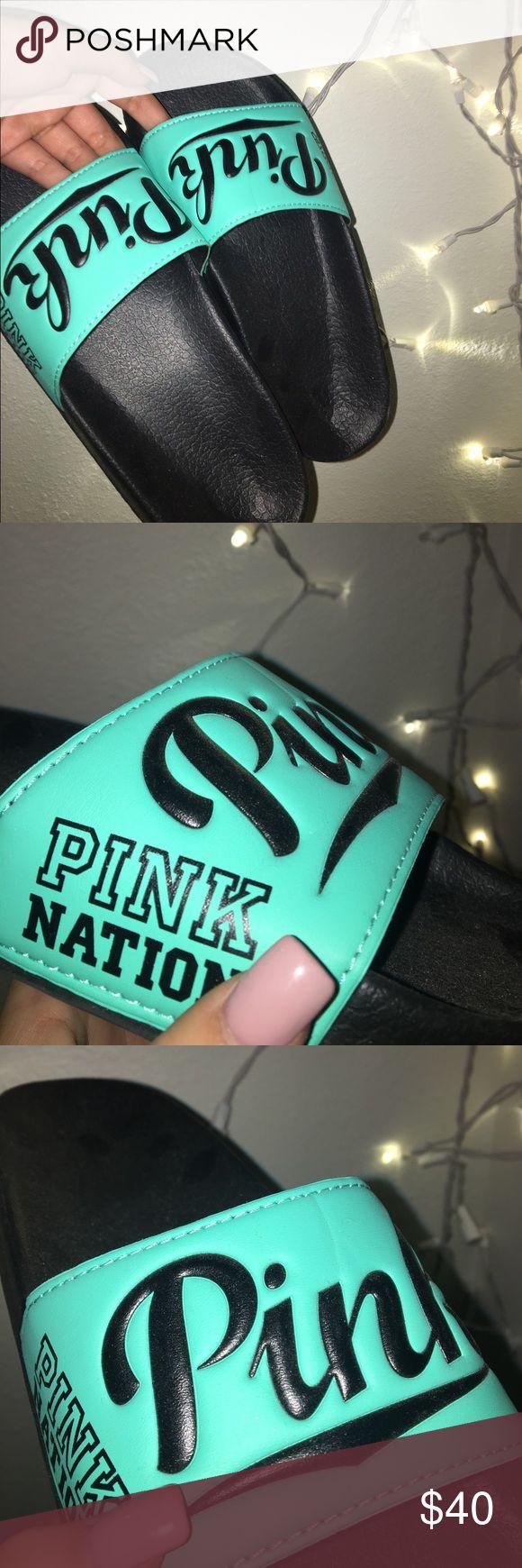 PINK Victoria Secret Slides Pink Slides, very comfy and cute. PINK Victoria's Secret Shoes Sandals