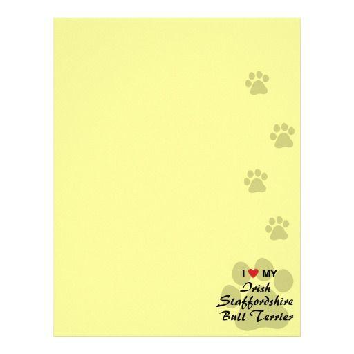 I Love My Irish Staffordshire Bull Terrier Letterhead Design