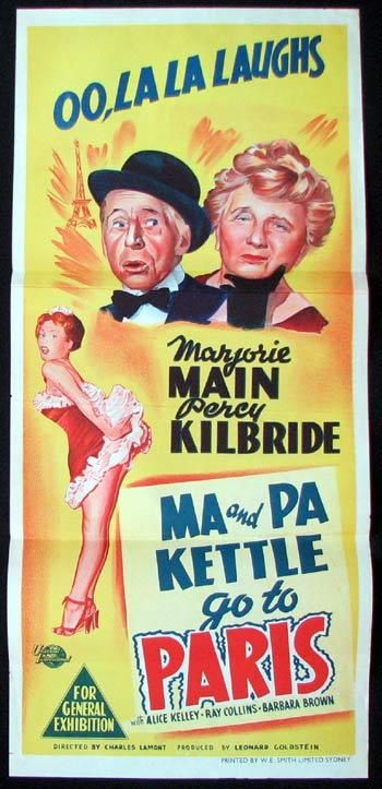 Ma and Pa Kettle | MA AND PA KETTLE GO TO PARIS Movie poster Marjorie Main Percy Kilbride ...