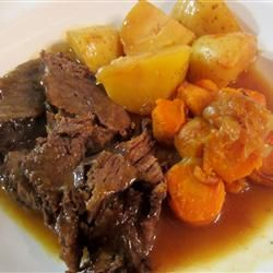 "Jen's Pressure Cooker Pot Roast from Allrecipes.com - Review said, ""This was fantastic! The pressure cooker method was easy and the drippings made the most wonderful gravy. My husband and I couldn't eat it fast enough, so delicious!"""