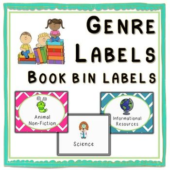 Genre labels for the bins you keep your library books in - print 2x2 or 2x3 for smaller labels:Animal FictionAnimal Non-fictionScienceSocial…
