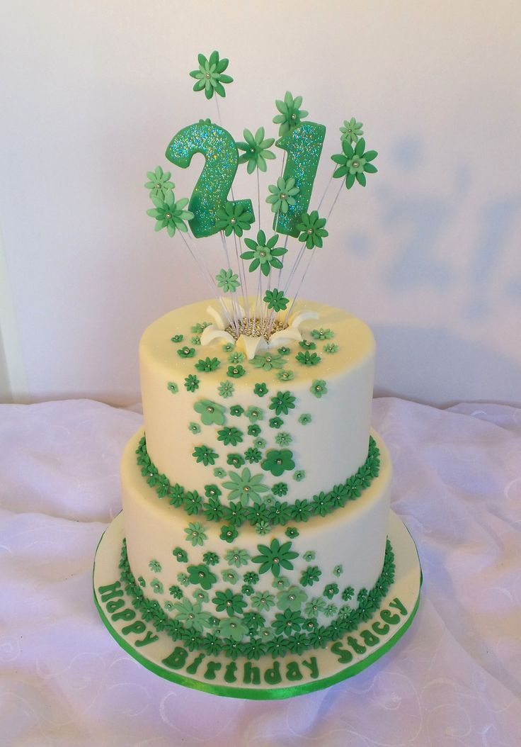 Two Tier White With Green Flowers 21st Birthday Cake