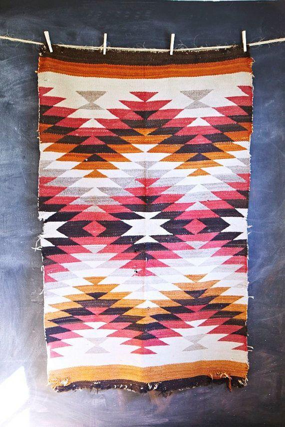 Vintage Navajo Rug American Indian Hand Woven 1930's