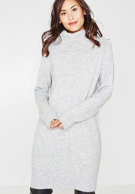 94399bfd5c3 Rollneck knit dress Light grey