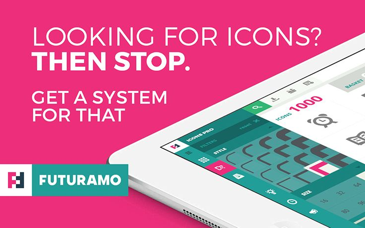 FUTURAMO ICONS – a perfect tool for designers & developers. Over 1000 icons in 16 styles, that is roughly 16000 icons! And all of them wrapped in an App you'll love! Check it out on futuramo.com :)