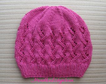 Knitting Pattern 150 Blue Hat with Lacy Columns for a Lady