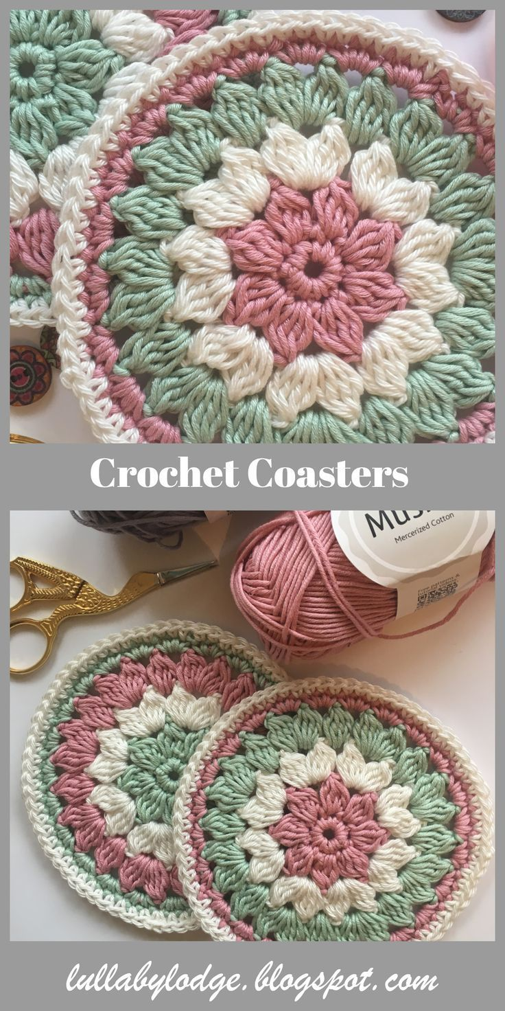 A last minute gift for Mum.  Pretty crochet coasters, a free pattern suitable fo…